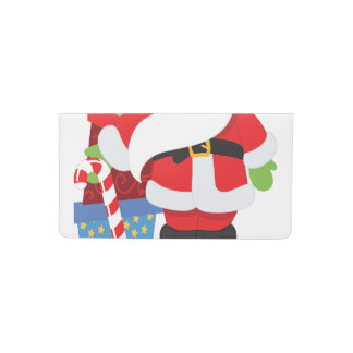 santa in tophat by  stack of presentts checkbook cover