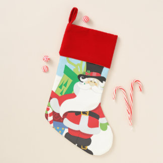 santa in tophat by  stack of presentts christmas stocking