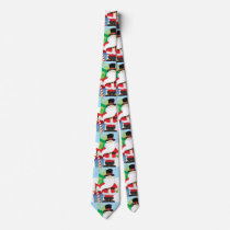 santa in tophat by  stack of presentts neck tie