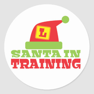 SANTA in TRAINING! with cute Santas hat Round Sticker
