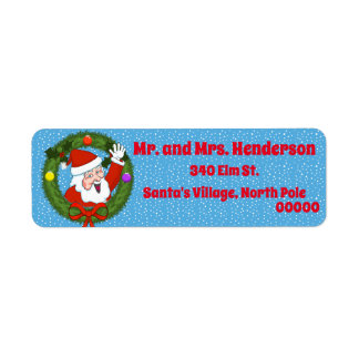 Santa in Wreath Christmas Return Address Labels