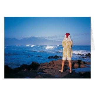 Santa inspects waves on Maui Card