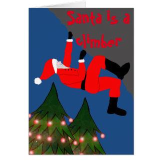 Santa is a climber Christmas card