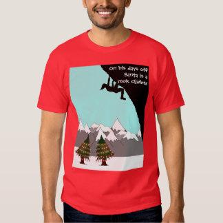 Santa is a rock climber T shirt