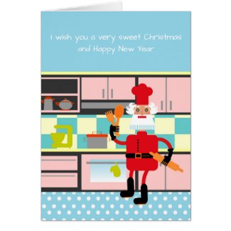 Santa is baking Christmas cookies Card
