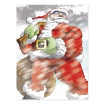 christmas, santa, holiday, xmas, Postcard with custom graphic design