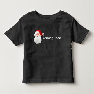 Santa is coming soon on black T-shirt