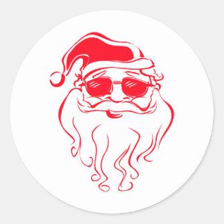 Santa is cool classic round sticker