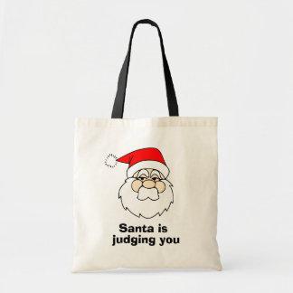 Santa is judging you budget tote bag