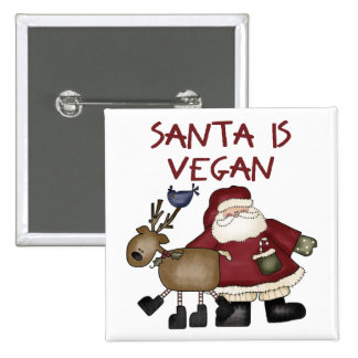 Santa Is Vegan Pinback Button