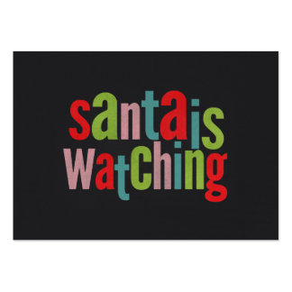 Santa Is Watching Colorful Chalkboard Business Card Templates