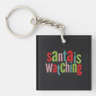Santa Is Watching Colorful Chalkboard Keychain