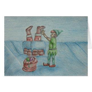 Santa its Coming! illustration Card