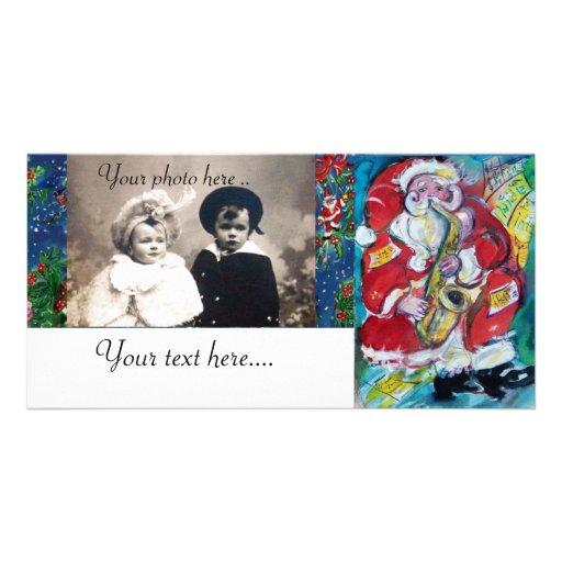 SANTA & JAZZ PHOTO GREETING CARD