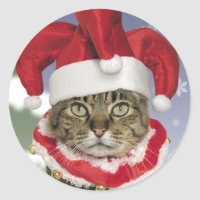 Santa Jester Cat Christmas Stickers