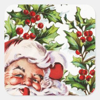 Santa jolly holly mistletoe vintage square sticker