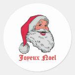 Santa Joyeux Noel Etiquetas Redondas