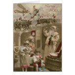Santa - juguetes - avión - Francia WWI #X039 Tarjeta