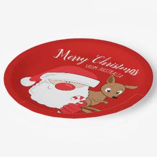 Santa u0026 Kangaroo Paper Plate  sc 1 st  Zazzle & Christmas Australia Plates | Zazzle