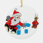 santa karate chipping ice Double-Sided ceramic round christmas ornament