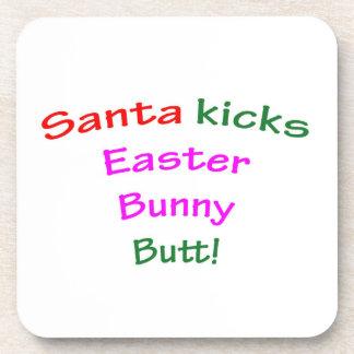 Santa Kicks Easter Bunny Butt! Beverage Coaster
