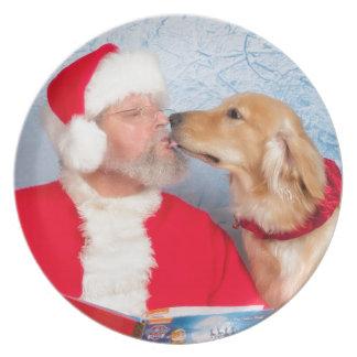 Santa kisses melamine plate