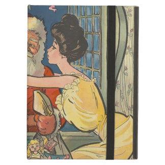 Santa Kisses Vintage Christmas iPad Folio Cases