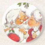 Santa Kissing Mrs Claus Beverage Coasters