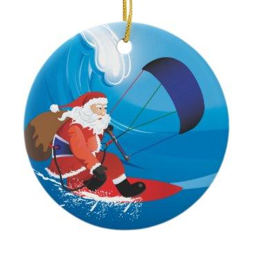 Christmas Themed Santa Kitesurf Ornament