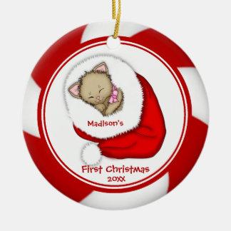 Santa Kitten Baby's First Christmas Ornament