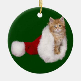 Santa Kitten Christmas Ornament