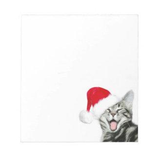Santa kitten note pad