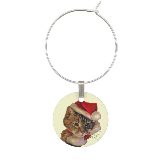 Santa Kitty Cat Wine Charm