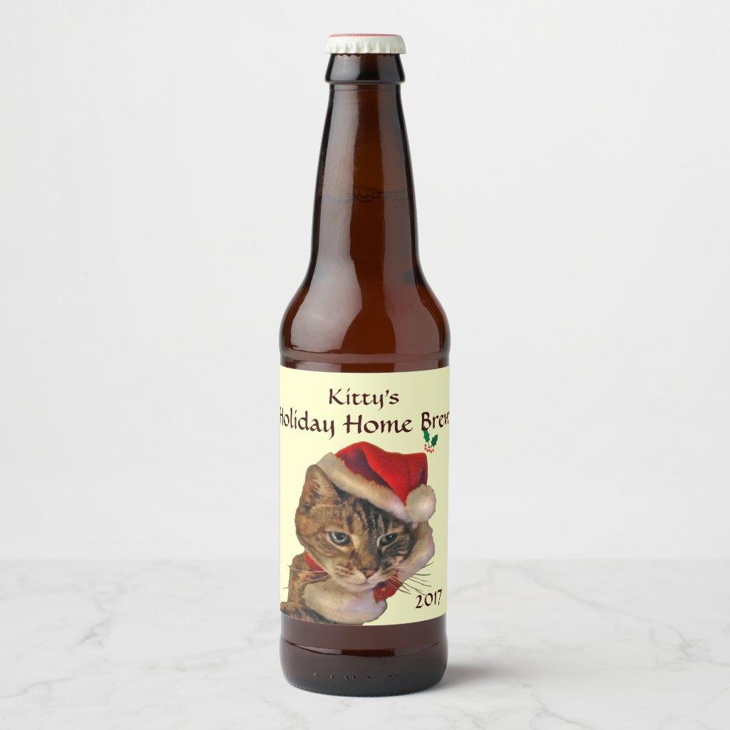 Santa Kitty Christmas Home Brew Beer Bottle Label