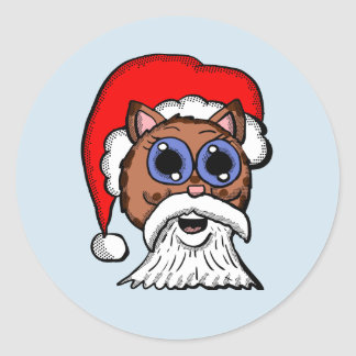 Santa Kitty Classic Round Sticker