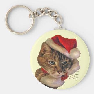 Santa Kitty Keychain