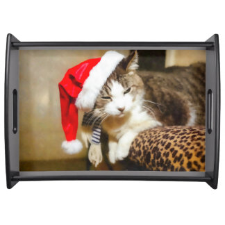Santa Kitty Painterly Serving Tray