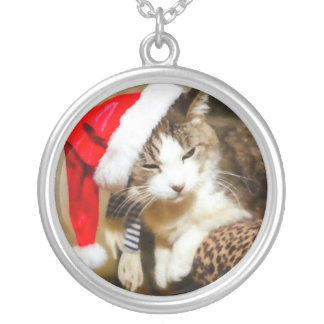 Santa Kitty Painterly Silver Plated Necklace