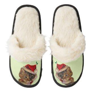 Santa Kitty Pair of Fuzzy Slippers