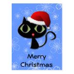 Santa kitty postcard