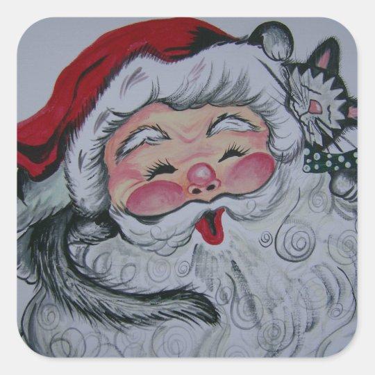 Santa Kitty Square Sticker