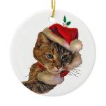 Santa Kitty with Holly Ceramic Ornament