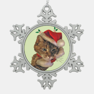 Santa Kitty with Holly Snowflake Pewter Christmas Ornament