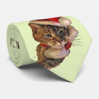 Santa Kitty with Holly Tie