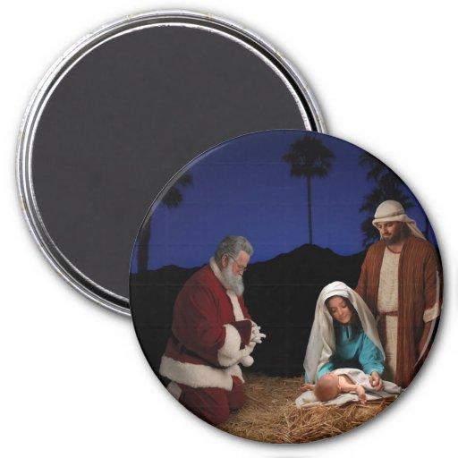 Santa Kneeling at Nativity Magnets