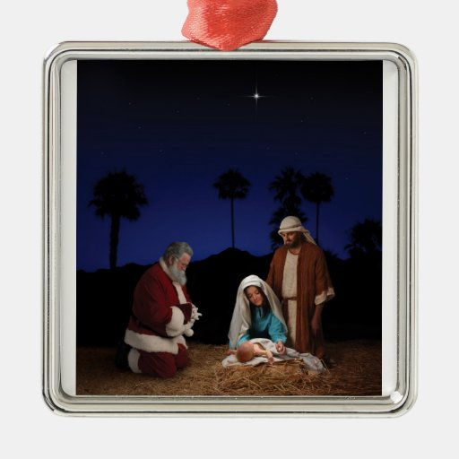 Santa Kneeling at Nativity Metal Ornament