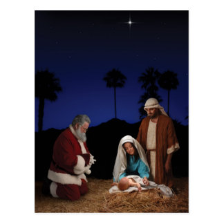 Santa Kneeling at Nativity Postcard
