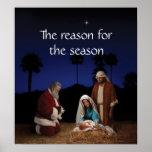 Santa kneeling at the Nativity Poster