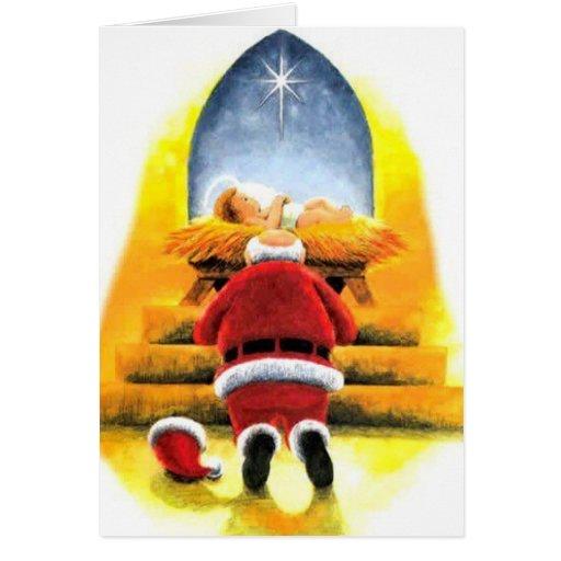 Santa Kneeling Before Baby Jesus Christmas Card