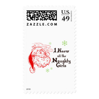 Santa knows all the naughty girls stamp